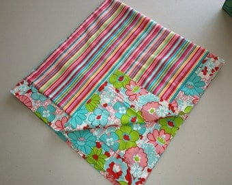 Flowers and Stripes Baby Blanket!