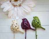 Gift / Gift Idea / Woodland Decor / Filigree Bird Hook / Fixture / Wall Hanging / Garden Decor / Hook / Nature / Animal Decor