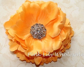 "5"" Ruffled Peony Flower - TANGERINE ORANGE - Center Stone Sold SEPARATELY - Large Flower - Wholesale - Beautiful Flower - Craft Flower"