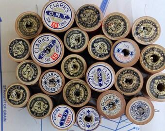 1960s Lot 24 Wooden Spools/ Clark's O.N.T./  Boilfast Thread Spools (lot A)