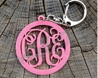 2 inch Acrylic Key Chain Circle Border MONOGRAM Vine Font