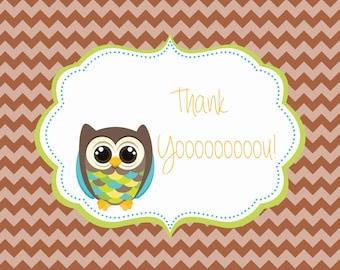 Boy or Girl Chevron Owl Birthday Thank You Card