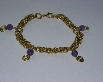 Gold Byzantine Bracelet with Amethyst Dangles