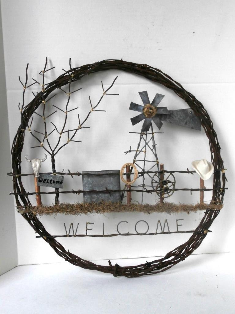 Barb Wire Wreath Western Theme Welcome Sign