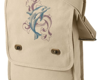 Baroque Dolphin Embroidered Canvas Field Bag