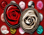 """Digital collage sheet: """"Roses Ovals"""" floral oval pendants, 30 x 40 mm Printable download oval Images for bezel cabs glass and resin pendants"""
