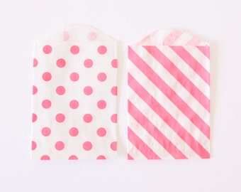 Mini Favor Bags - Pink - Paper Party Bags