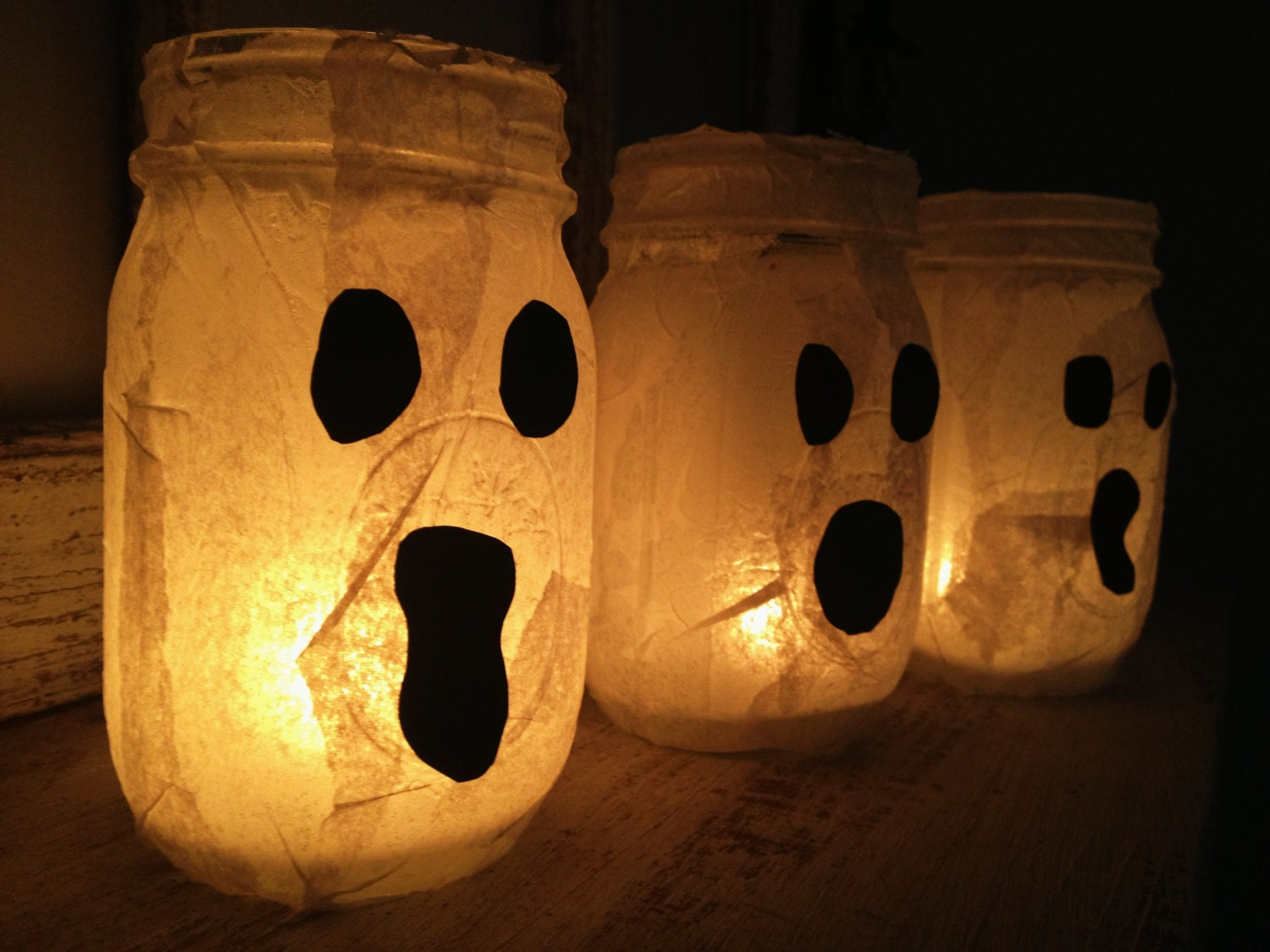 Ghost Candle Holder Halloween Mason Jars. by xxMagnoliaLanexx