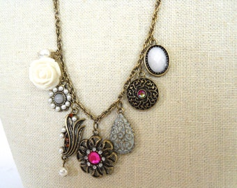 Antiqued Vintage Inspired Assorted Eclectic Charm Necklace