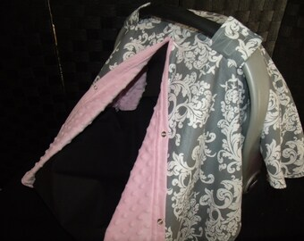 Car seat Canopy Minky Grey Scroll Blanket Cover carseat canopy car seat cover nursing cover infant car seat