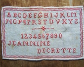 ORIGINAL VICTORIAN French name redwork antique girl's embroidery Sampler alphabet & numbers linen checked border signed great to frame! - victoriandainties