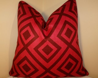 BOTH SIDES - ONE Lee Jofa La Fiorentina Wine Magenta Pillow Cover with Self Cording