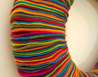 "Multicolor Eco-friendly Felt Wreath // Bright & Colorful // 13"""