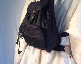 Backpack bag,black leather backpack, shoulder bag, unused , vintage