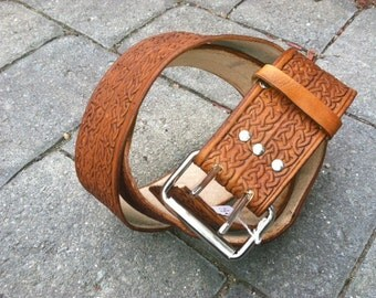 """2 1/2"""" Belt with double Celtic scrolling, up to 56"""""""