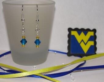 WVU Swarovski crystal earrings