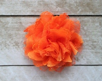 3.75 inch Chiffon Lace Flower in Orange - Flower Head for Headbands and DIY Hair Accessories