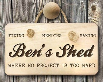 No Project Too Hard Personalised  Shed Sign - Men's Gift - Gift For Husband - Anniversary Gift - Manly Man Gift -  FREE UK DELIVERY!