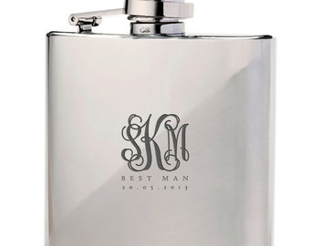 Monogrammed 6 oz Personalised Stainless Steel Hip Flask - Wedding, Groomsmen, Usher Gifts - FREE UK DELIVERY!