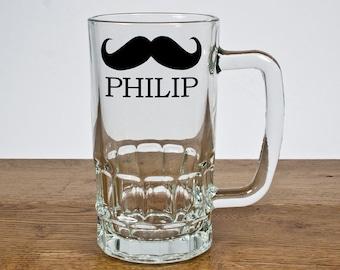 Moustache personnalisé bière verre Chope - garçon d'honneur cadeau - cadeau pour le marié - mariage cadeau - personnalisé - prestation gratuite!