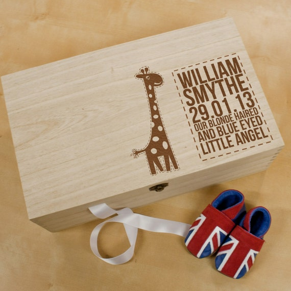 Personalised Baby Gifts Keepsake Boxes : Personalised baby giraffe keepsake box wooden