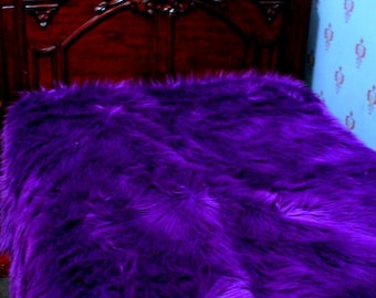 Plush Faux Fur Bedspread - Comforter - Throw - Exotic Dark Purple Shag Backed with Soft Minky Cuddle Fur - Fur Accents Original Design - USA