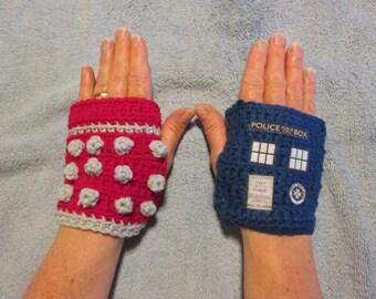 DR WHO - TARDIS and Dalek fingerless gloves