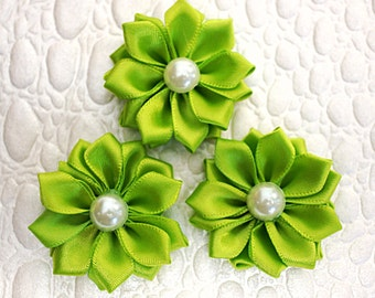 "3 Lime Green 1.5"" Satin Flowers w/ Pearl Center - Petite Satin flower - Satin Ribbon Flower - Fabric Flower - wholesale flowers"