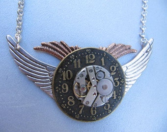 Sale, Steampunk,Steampunk Jewelry, Wings, Steampunk Necklace, Watch Movement, Gothic, Crystals, Womens Necklace, Gift Idea