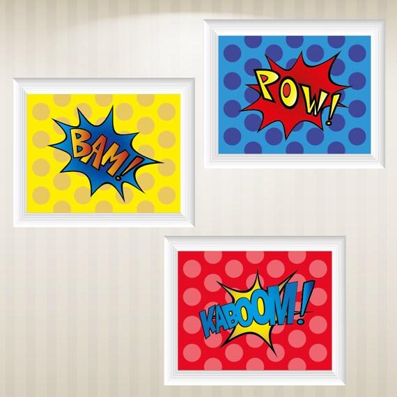 satz von 3 superhelden comic stil pop art drucke von