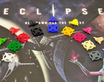 Eclipse board game starbase tokens - 9 colors
