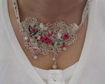 Victorian-Turkish oya wrist cuff necklace;romantic multifunctional needle lace jewelry;fibre art ethnic-modern lace oya bridal  necklace