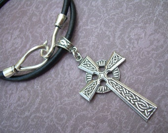 Celtic Cross Leather Necklace, Pendant , Mens Necklace, Mens Jewelry, Mens Gift, Religious Gift, Cross Jewelry, Leather Jewelry, Leather