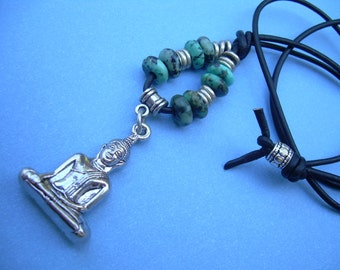 Seated Buddha Gemstone Leather Necklace African Turquoise Jewelry Gift Man Woman