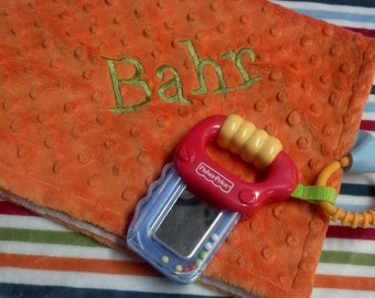FREE SHIPPING Personalized Minky Travel Lovie Security Blanket with mirror saw  OR Hammer rattle/teether,Orange, Green, Blue and Red