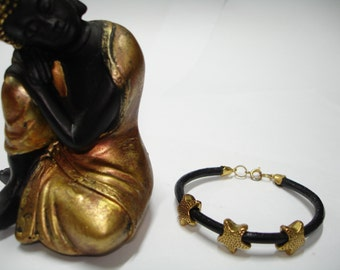Leather Wristband with star fantasy beads