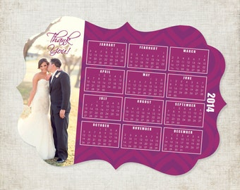 5x7 Die Cut Calendar Magnet Wedding Thank You- Available in Several Different Shapes
