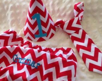 Boys Cake Smash Set - Red Chevron - Diaper Cover, Tie & Birthday Hat - Birthday Outfit
