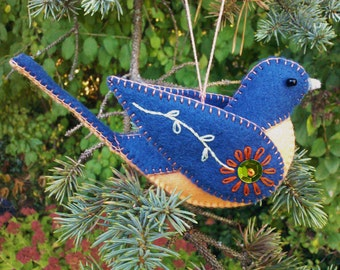 Wool Felt Bluebird Ornament, Felt Bird Ornament, Embroidered Bluebird Decoration, Felt Ornament, Folk art Bluebird