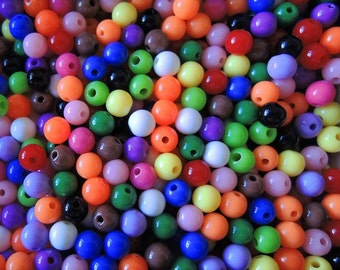 150Pcs  Mixed Color Acrylic Beads -6mm (S021)