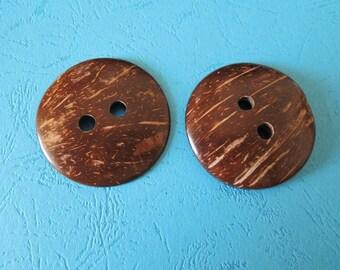 "10 Pcs 50mm(2"" ) large  Round Natural Coconut button 2holes  (W374)"