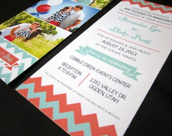100 (quantity) Chevron Whimsical Wedding Invitation - 4x9