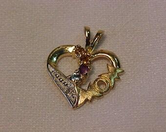 10k *MOM* heart pendant-4 coloured stones and 1 Diamond-FREE SHIPPING