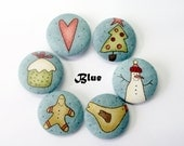22mm (0.87 inch) Christmas Buttons / Fabric Buttons / Covered Buttons (Set of 6) Vintage Primitive - Christmastime Collection