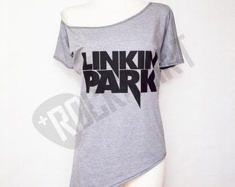 Off shoulder tunic asymmetric tshirt for women rock shirt Linkin Park