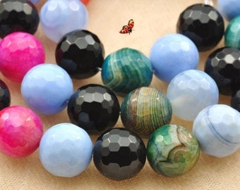 Rainbow Agate faceted round beads 10mm,37 pcs