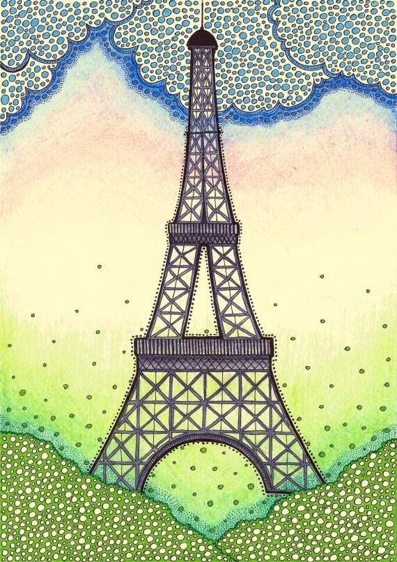 Items Similar To Original Drawing - Eiffel Tower