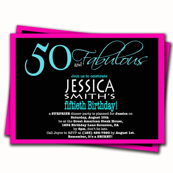 Aqua Blue And Pink 50th Birthday Invitation By PurpleChicklet