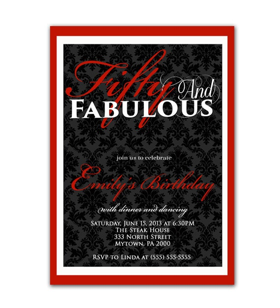 50 And Fabulous Text: Fifty And Fabulous Damask Birthday Invitation By