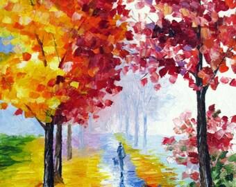 "ORIGINAL Oil Painting Modern Palette Knife Landscape  -  FOGY PARK  12""x 9""x 1 1/2"""